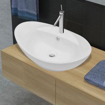 Keramični ovalni umivalnik z izlivnim sist. in luknjo za pipo