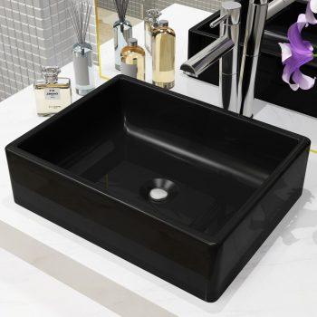 Keramični umivalnik pravokotne oblike črne barve 41x30x12 cm