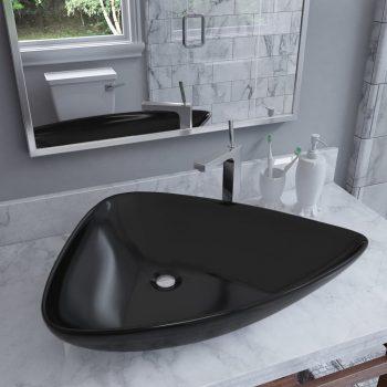 Keramični umivalnik trikotne oblike 645x455x115 mm črn