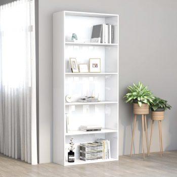 Knjižna omara 5-nadstropna visok sijaj bela 80x30x189 cm