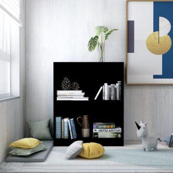 Knjižna polica črna 60x24x74