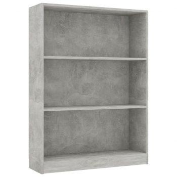 Knjižna polica betonsko siva 80x24x108 cm iverna plošča