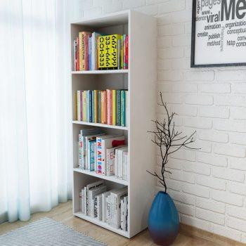 Knjižna polica iverna plošča 60x31x155 cm bele barve