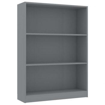 Knjižna polica siva 80x24x108 cm iverna plošča