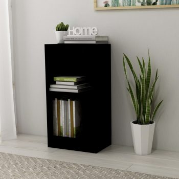 Knjižna polica visok sijaj črna 40x24x75 cm iverna plošča