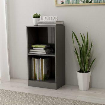 Knjižna polica visok sijaj siva 40x24x75 cm iverna plošča