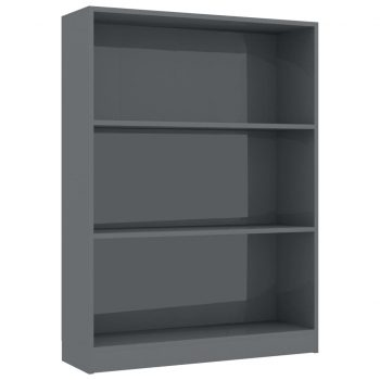 Knjižna polica visok sijaj siva 80x24x108 cm iverna plošča