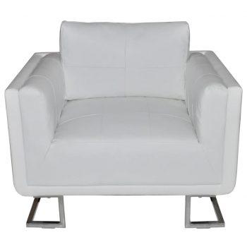 Kockast fotelj s kromiranimi nogami belo umetno usnje