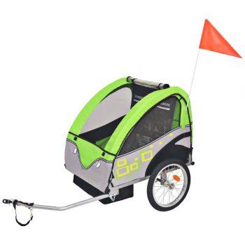 Kolesarska prikolica za otroke siva in zelena 30 kg