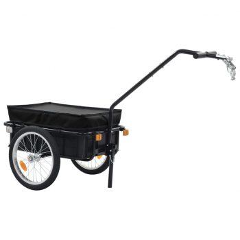 Kolesarska tovorna prikolica/voziček 155x61x83 cm jeklo črna