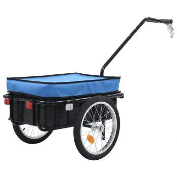 Kolesarska tovorna prikolica/voziček 155x61x83 cm jeklo modra