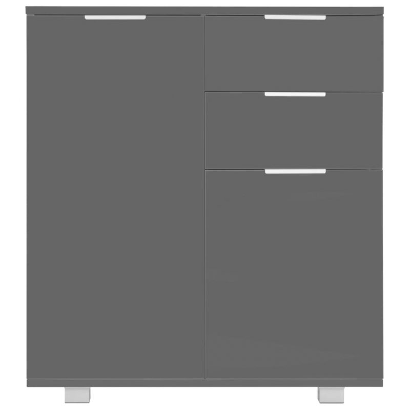 Komoda visok sijaj siva 71x35x76 cm iverna plošča