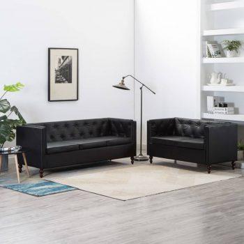 Komplet kavčev 2-delni obloga iz umetnega usnja črne barve