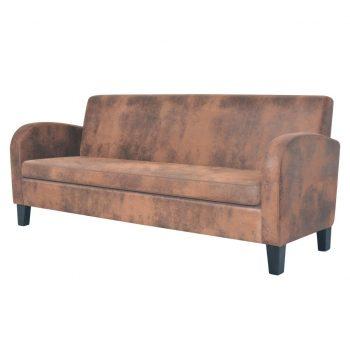 Komplet kavčev 2 delni umetni semiš rjave barve