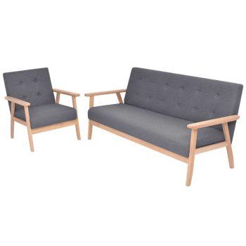 Komplet kavčev 2 kosa iz blaga temno sive barve