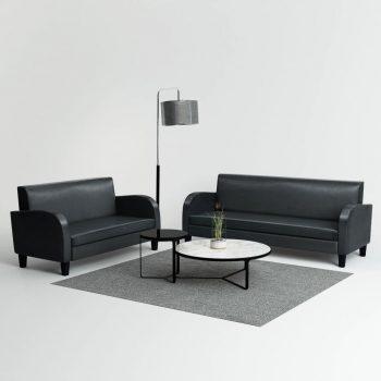 Komplet kavčev 2 kosa umetno usnje črne barve