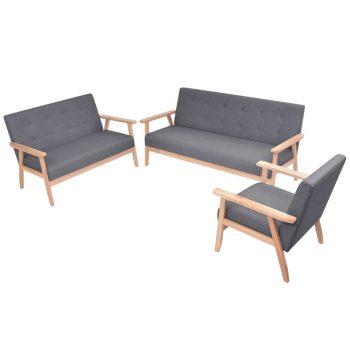 Komplet kavčev 3 kosi iz blaga temno sive barve