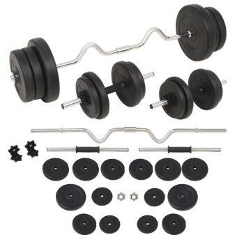 Komplet uteži in palic 60 kg