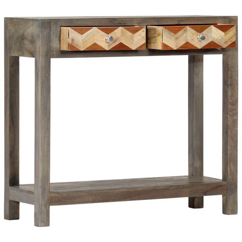 Konzolna mizica siva 86x30x76 cm trden mangov les
