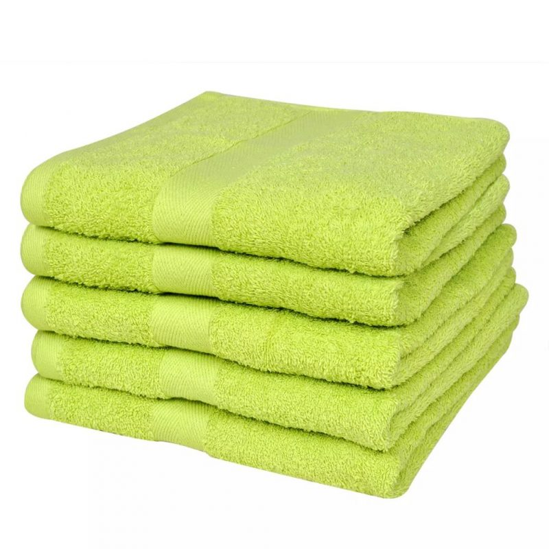 Kopalne brisače 5 kosov bombaž 500 gsm 100x150 cm svetlo zelene
