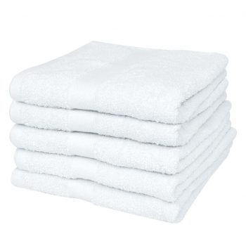 Kopalne brisače 5 kosov bombaž 500 gsm 70x140 cm bele