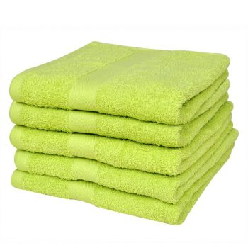 Kopalne brisače 5 kosov bombaž 500 gsm 70x140 cm svetlo zelene