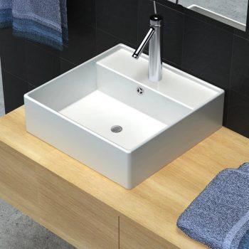 Kvadratni umivalnik z izlivnim sist. in luknjo za pipo 41 x 41 cm
