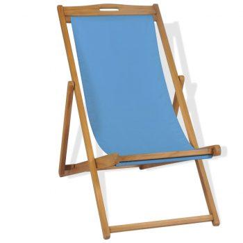 Ležalnik iz tikovine 56x105x96 cm modre barve