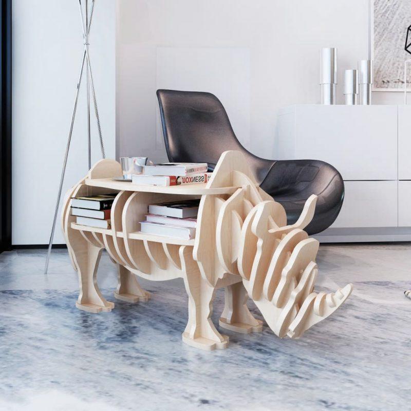 Lesen okrasni nosorog stojalo za knjige