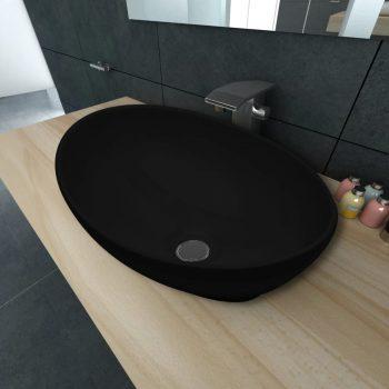 Luksuzni keramični ovalni umivalnik črne barve dimenzije 40 x 33 cm