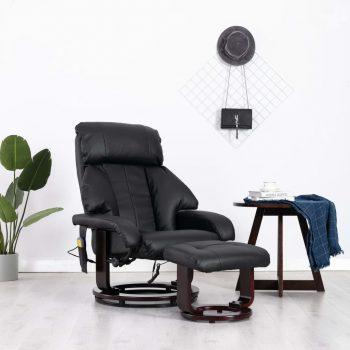 Masažni TV fotelj črno umetno usnje