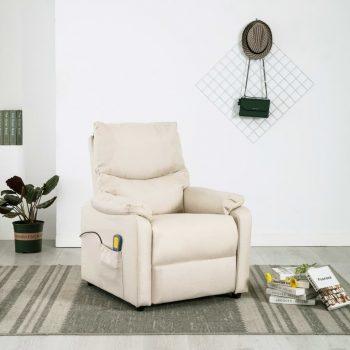Masažni TV fotelj krem blago