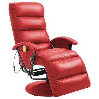 Masažni TV fotelj rdeče umetno usnje
