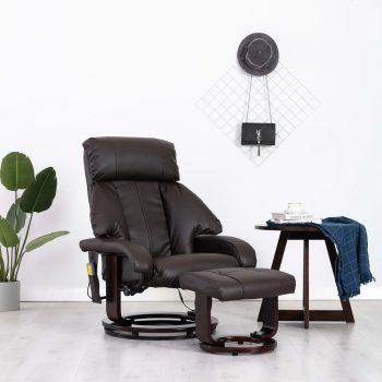 Masažni TV fotelj rjavo umetno usnje