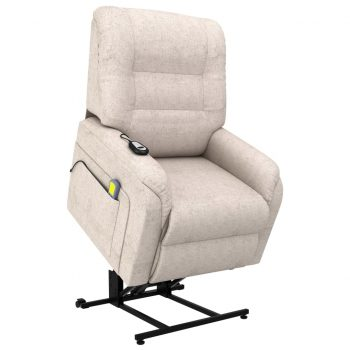Masažni TV fotelj s funkcijo vstajanja krem blago