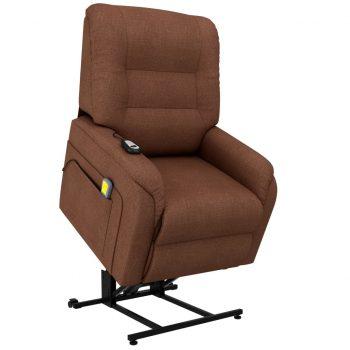 Masažni TV fotelj s funkcijo vstajanja rjavo blago