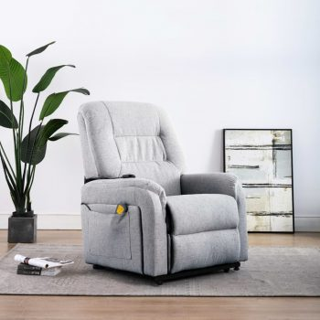 Masažni TV fotelj s funkcijo vstajanja svetlo sivo blago
