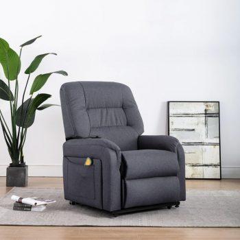 Masažni TV fotelj s funkcijo vstajanja temno sivo blago