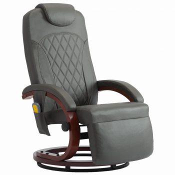 Masažni TV fotelj sivo umetno usnje