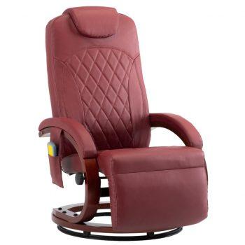 Masažni TV fotelj vinsko rdeče umetno usnje