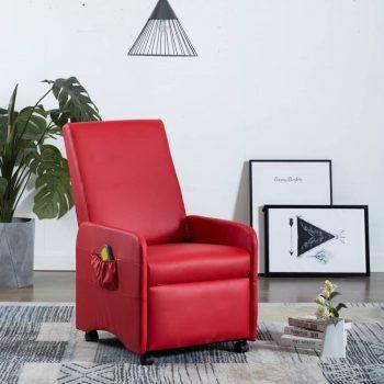 Masažni fotelj rdeče umetno usnje