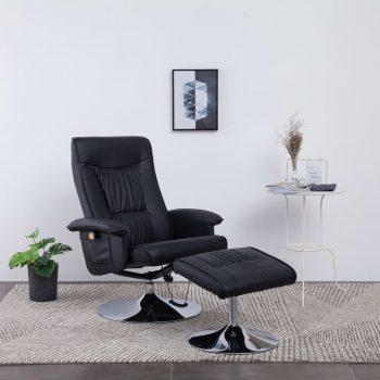 Masažni fotelj s stolčkom za noge črn iz umetnega usnja