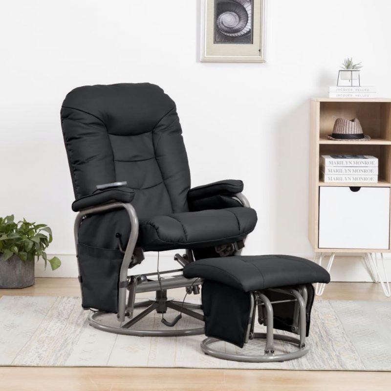 Masažni fotelj s stolčkom za noge črno umetno usnje