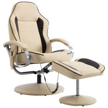 Masažni fotelj s stolčkom za noge krem iz umetnega usnja