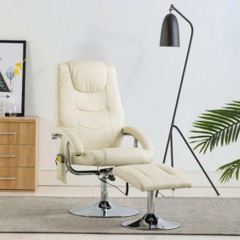 Masažni fotelj s stolčkom za noge kremno bel iz umetnega usnja