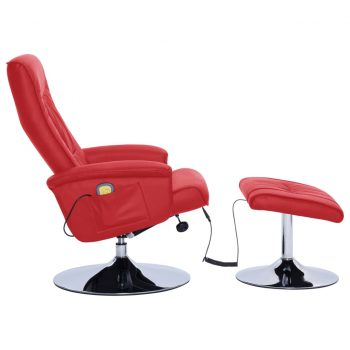 Masažni fotelj s stolčkom za noge rdeč iz umetnega usnja