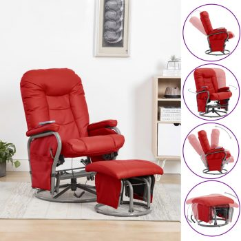Masažni fotelj s stolčkom za noge rdeče umetno usnje