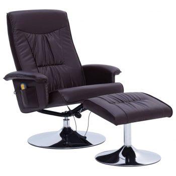 Masažni fotelj s stolčkom za noge rjav iz umetnega usnja