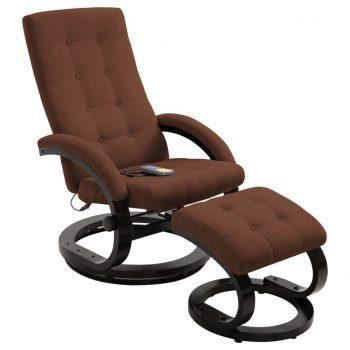 Masažni fotelj s stolčkom za noge rjavo semiš blago