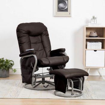 Masažni fotelj s stolčkom za noge rjavo umetno usnje